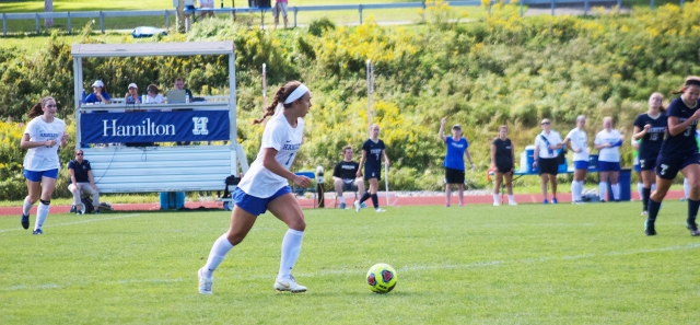 Back surgery patient Kendall Discenza plays on the soccer team at Hamilton College.
