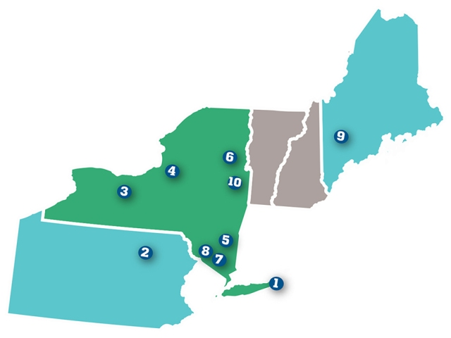 The camps shown above in New York, Pennsylvania and Maine are listed by number below.