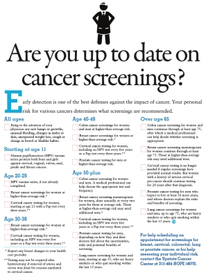 A quick guide for when you need a cancer screening