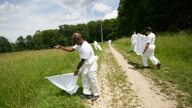 Thangamani and his team collect ticks by dragging white fabric through fields and woods in Green Lakse State Park.
