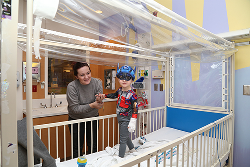 Halloween at the children's hospital. Patients can go trick-or-treating in the hallways, getting treats from Upstate employees, who also come in costume. (photo by Kathleen Paice Froio)