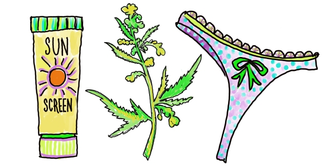 Suncreen, a hemp plant and thong underwear