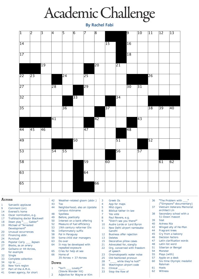 Rachel Fabi, PhD, created this puzzle for Upstate Health magazine. The puzzle solution appears at the end of this article.