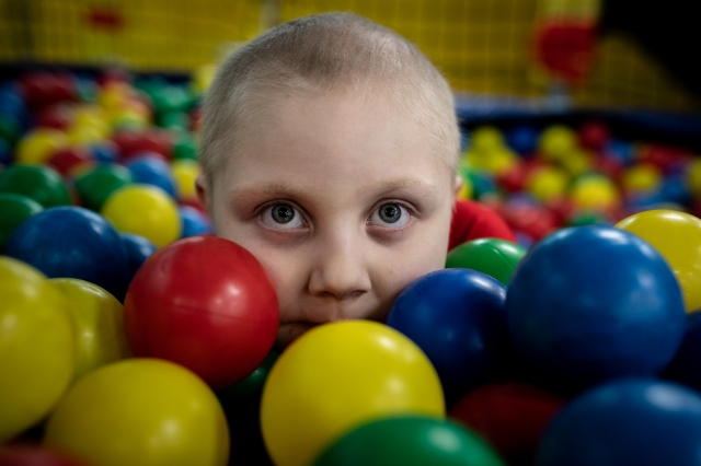 Kaylee Marshfield in a ball pit in February 2019, celebrating her seventh birthday. It was a happy occasion, unlike her sixth birthday, when she was diagnosed with cancer.