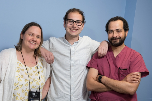 John Hrbac, center, with his pediatric oncologist, Jodi Sima, MD, left, and his surgeon, Tamer Ahmed, MD, right. (photos by Susan Kahn)