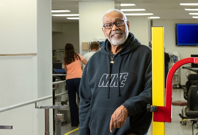 """Stroke survivor Leonard """"Larry"""" Johnson, 67, lost the use of his arm as he experienced a stroke. (photo by Robert Mescavage)"""