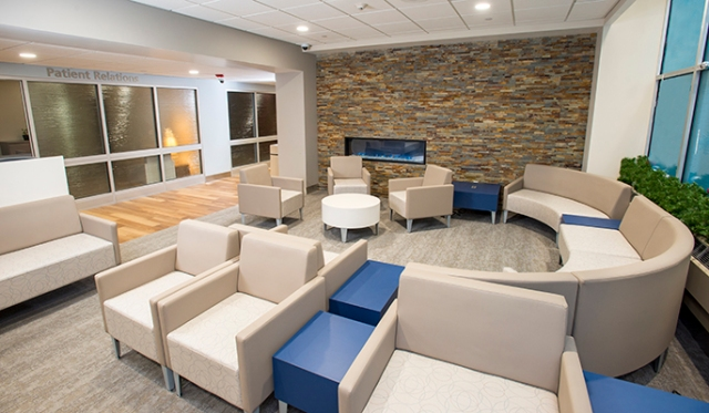 This waiting area is part of the recently renovated main lobby at Upstate University Hospital. (photo by William Mueller)