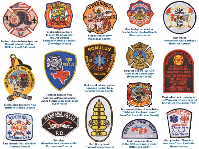 Patches from fire departments and rescue squads on display at the Clark Burn Center at Upstate.