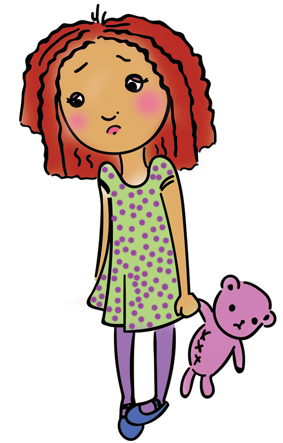 cartoon image of sad girl with teddy bear