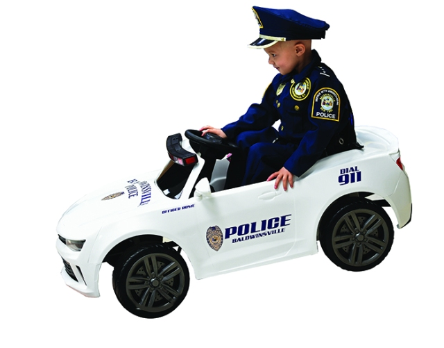 Rosie and her toy police cruiser.
