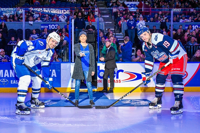 To raise awareness of lung cancer, Coombs was asked to drop the puck at a Syracuse Crunch hockey game last fall.(photo courtesy of the Syracuse Crunch)